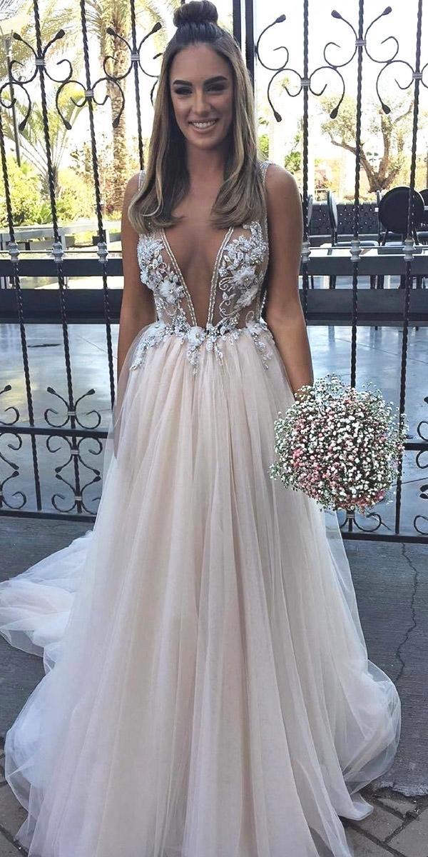 destination wedding dresses a line plunging neckline nude top romantic berta