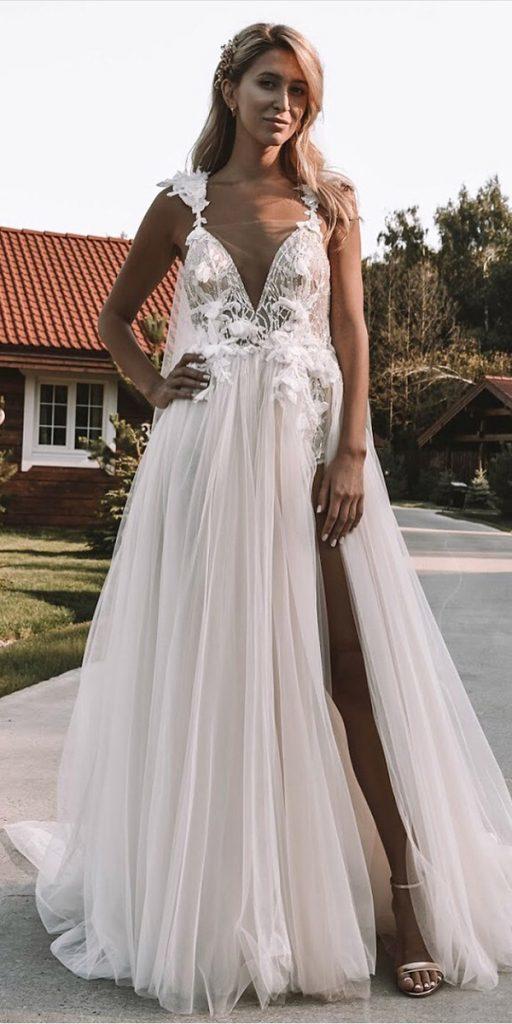 destination wedding dresses a line plunging neckline with slit for beach berta