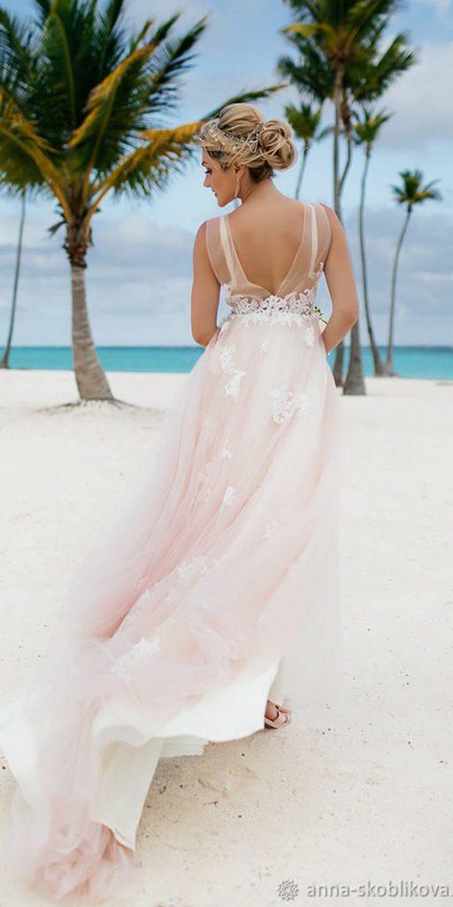 destination wedding dresses a line v back with train for beach anna skoblikova
