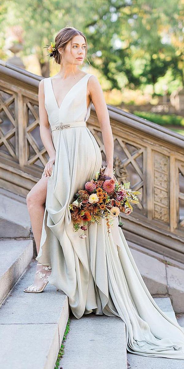 destination wedding dresses a line v neckline with train simple carol hannah bridal