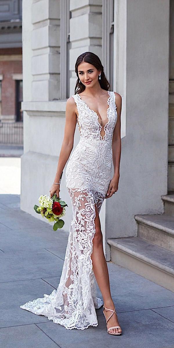 destination wedding dresses beach sexy deep v neckline lace kitty chen