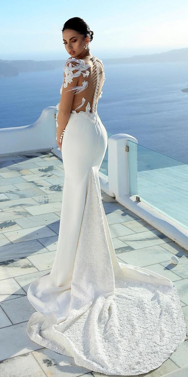 destination wedding dresses mermaid illusion back with train andrra couture