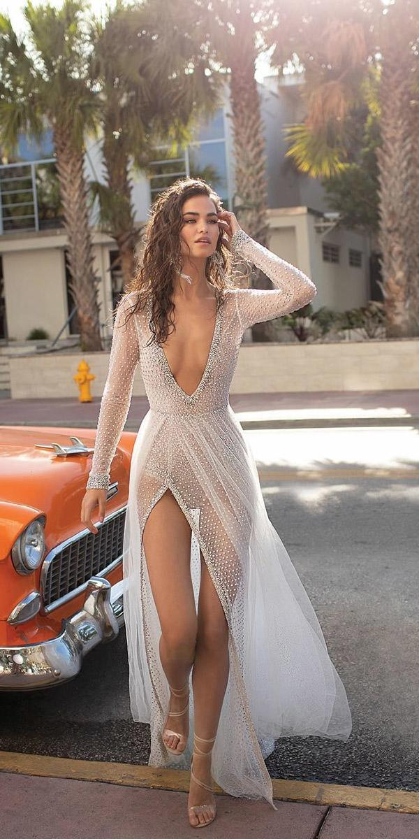 destination wedding dresses sexy deep v neckline with illusion long sleeves for beach berta