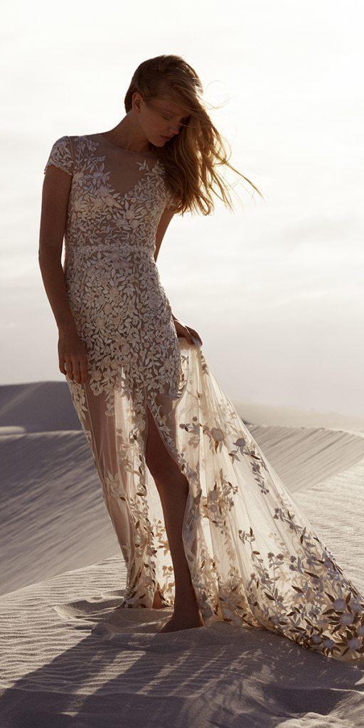 destination wedding dresses sheath with cap sleeves slit floral hermione de paula
