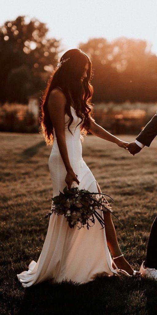 destination wedding dresses sheath simple slit country rime arodaky