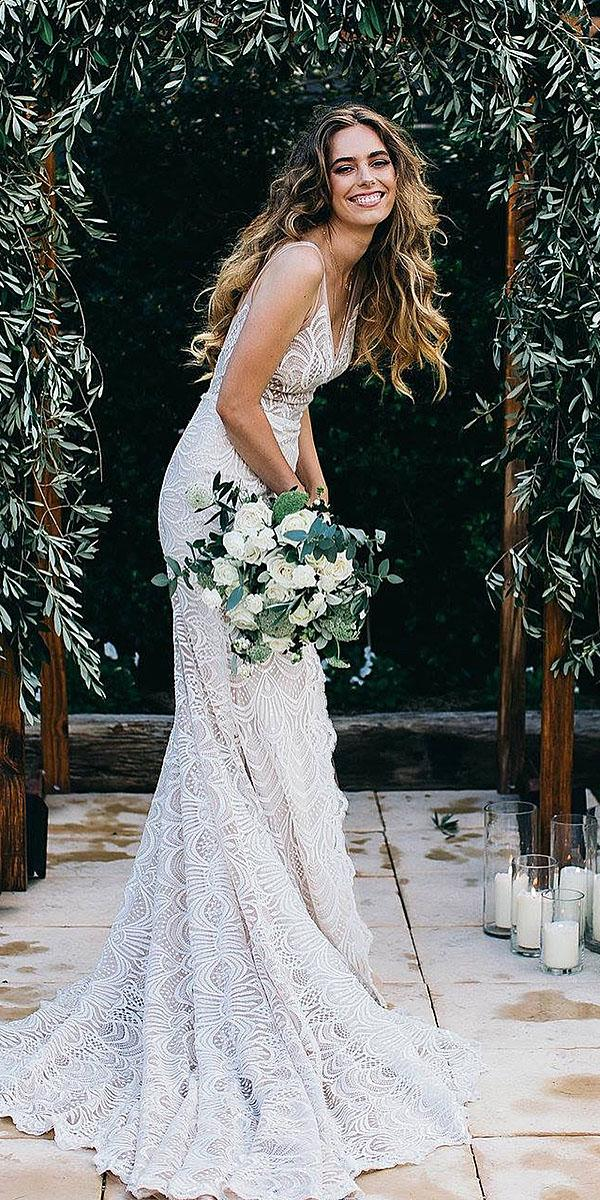 destination wedding dresses sheath with straps lace made with love bridal