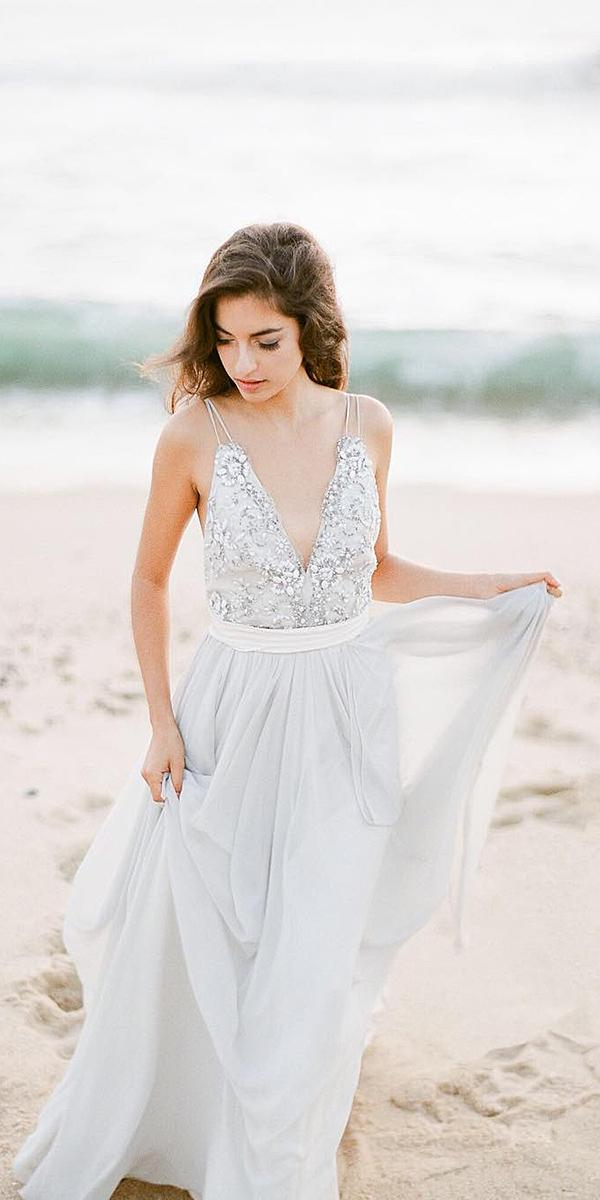destination wedding dresses with spaghetti straps casual beaded top beach truvelle bridal