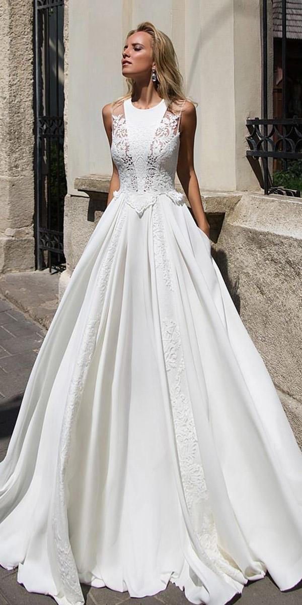 fantasy wedding dresses a line jewel neckline lace top satin skirt sleeveless modern oksana mukha