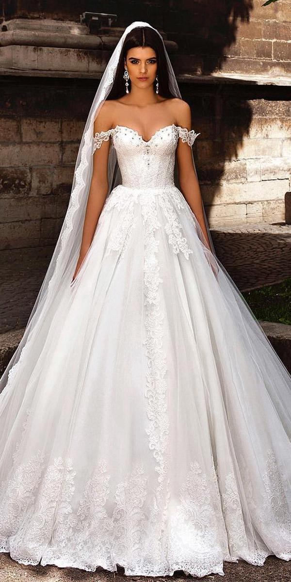 fantasy wedding dresses a line off the shoulder sweetheart lace floral embroidery crystal design