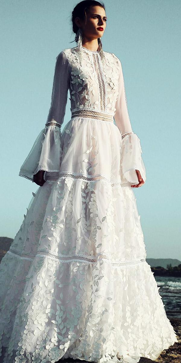 boho a line long sleeves jewel neck 3d floral wedding dresses christos costarellos