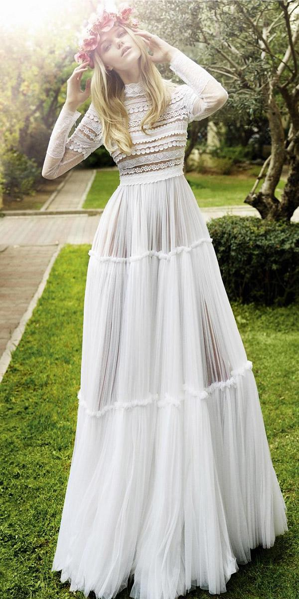 boho wedding dresses with long sleeves floral embellishment christos costarellos