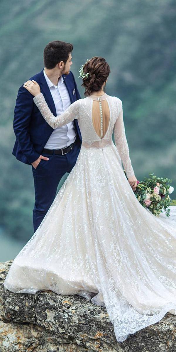 fantasy wedding dresses a line with sleeves open back lace embellishment galia lahav