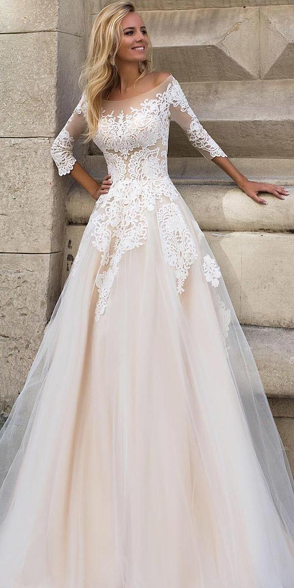 fantasy wedding dresses a line with three quote sleeves lace tulle skirt oksana mukha