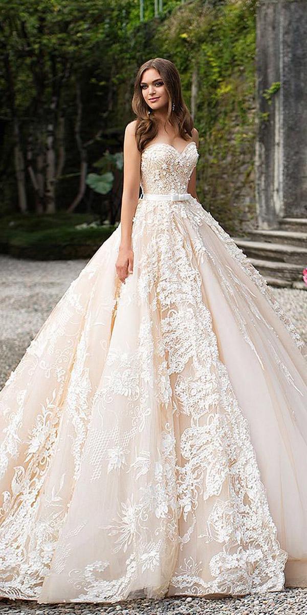 fantasy wedding dresses ball gown sweetheart full lace belt milla nova