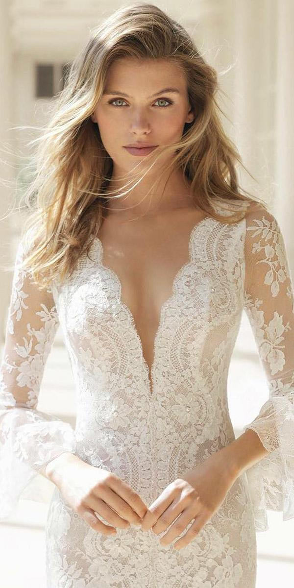 fantasy wedding dresses deep v neckline with slleves lace details sexy rosa clara
