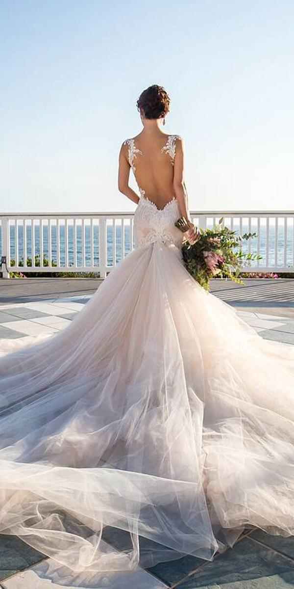 beach low back lace wedding dresses with train galia lahav