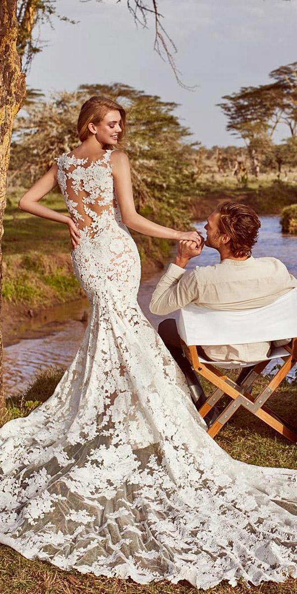 beach fantasy wedding dresses mermaid full lace with train sexy pronovias