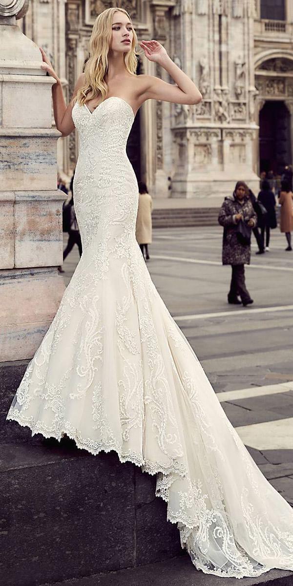 vintage mermaid sweetheart lace embellishment fantasy wedding dresses with train eddy k