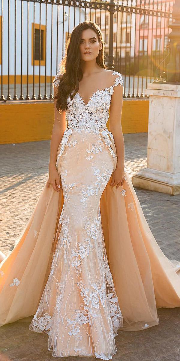 fantasy wedding dresses mermaid sweetheart overskirt lace floral embellishmetn blush colored crystal design