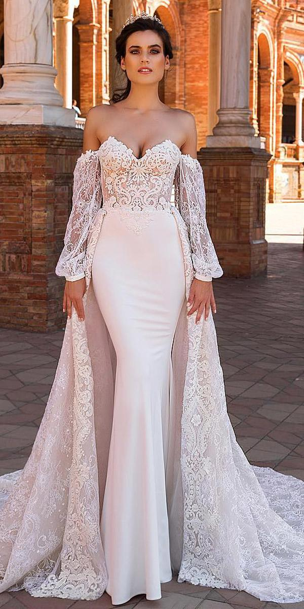 fantasy wedding dresses mermaid sweetheart with sleeves overskirt satin lace top crystal design