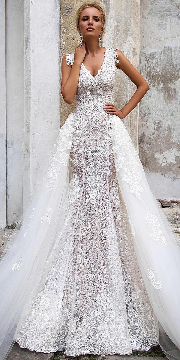 fantasy wedding dresses mermaid v neck full lace overskirt modern oksana mukha