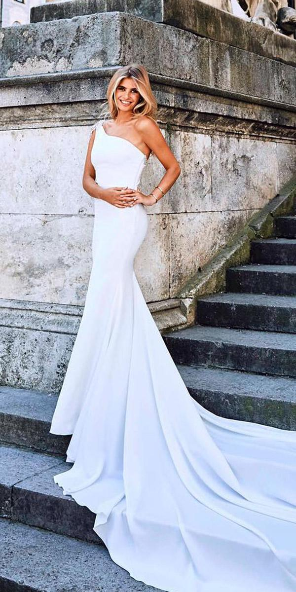 fantasy wedding dresses sheath asymmetrics simple with train pronovias