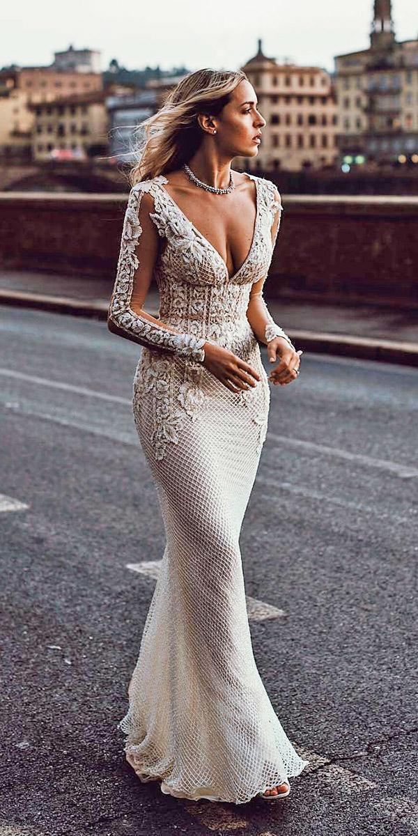 fantasy wedding dresses sheath deep v neckline with lace sleeves embroidery galia lahav