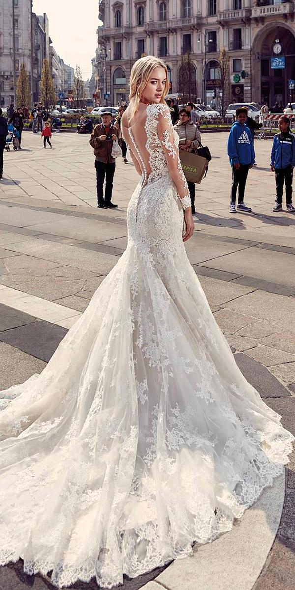 fantasy wedding dresses sheath with illusion sleeves back full lace with train eddy k