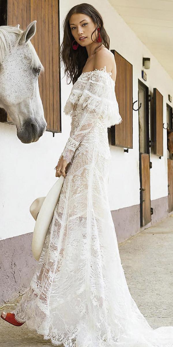 fantasy wedding dresses sheath with sleeves lace floral embellishment boho yolan cris
