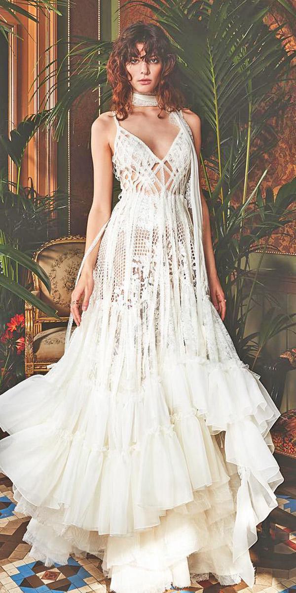 fantasy wedding dresses spaghetti straps v neckline floral embellishment boho yolan cris