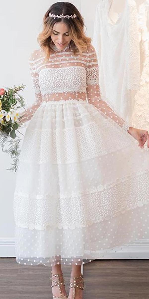 fantasy wedding dresses with illusion long sleeves vintage christos costarellos