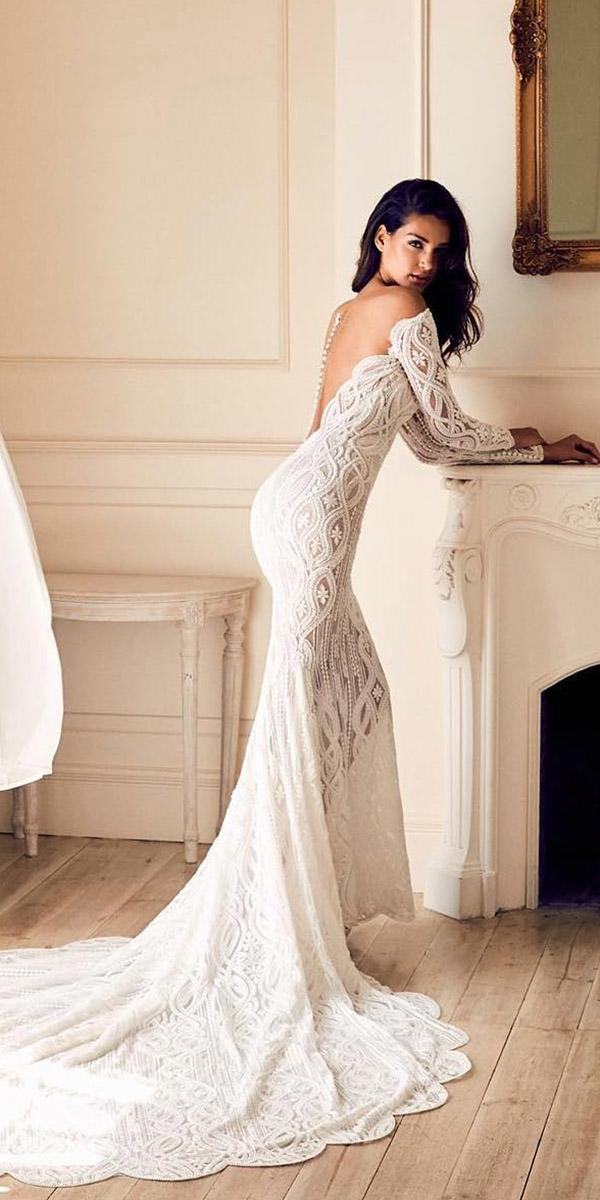 fantasy wedding dresses with sleeves illusion back lace embroidery with train pronovias