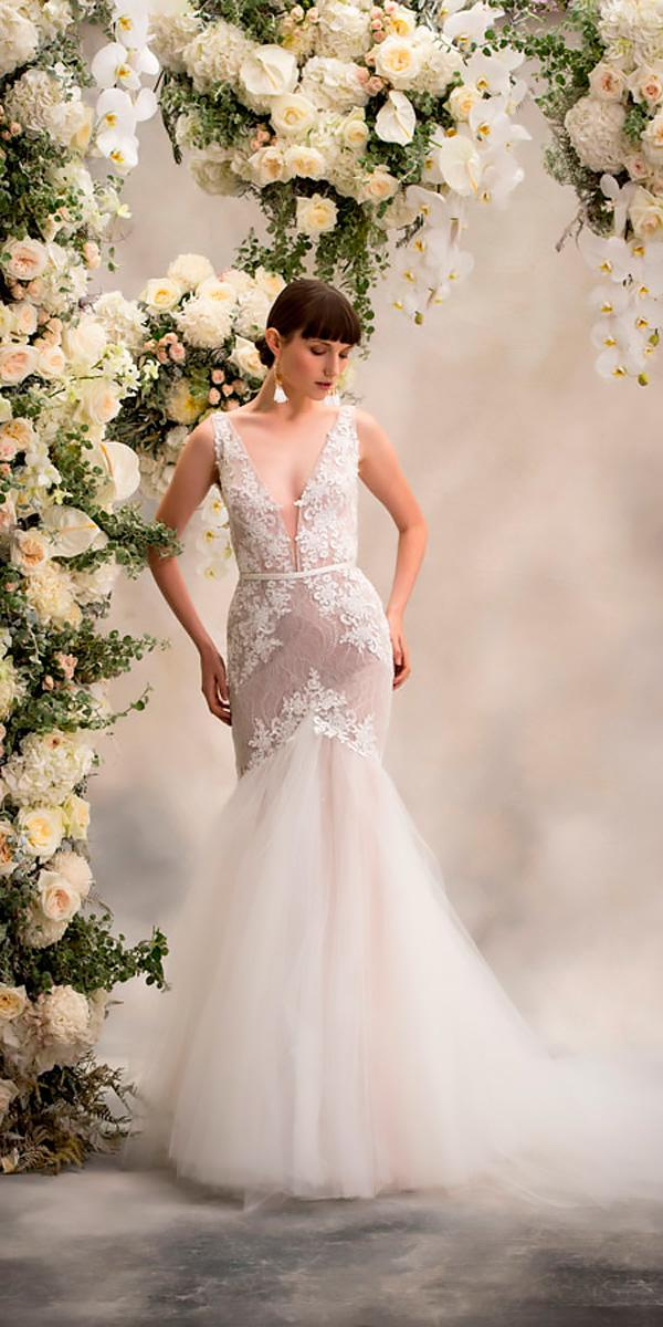 fit and flare strapless v neck lace anna georgina wedding dresses style sophia