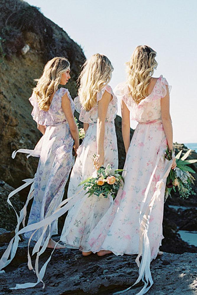 floral-bridesmaid dresses boho sheath with cap sleeves plum pretty sugar