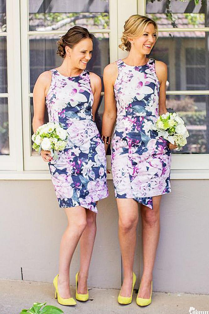 floral bridesmaid dresses jewel neckline short gemma clarke