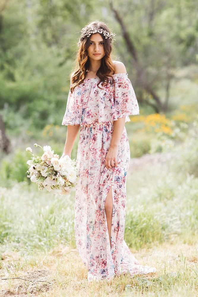 floral bridesmaid dresses long across neckline rustic pastel brandon kidd