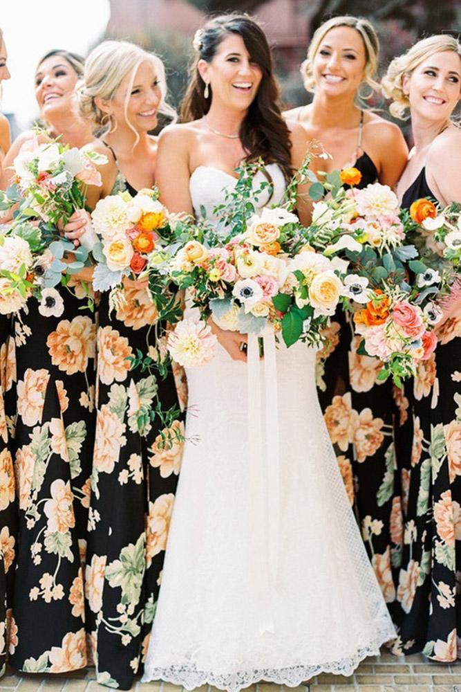 floral bridesmaid dresses long black with spaghetti straps print danielle poff photography