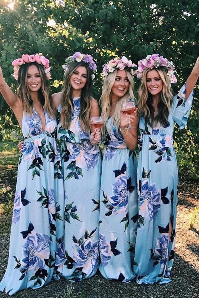 floral bridesmaid dresses long blue print mismatched mumu