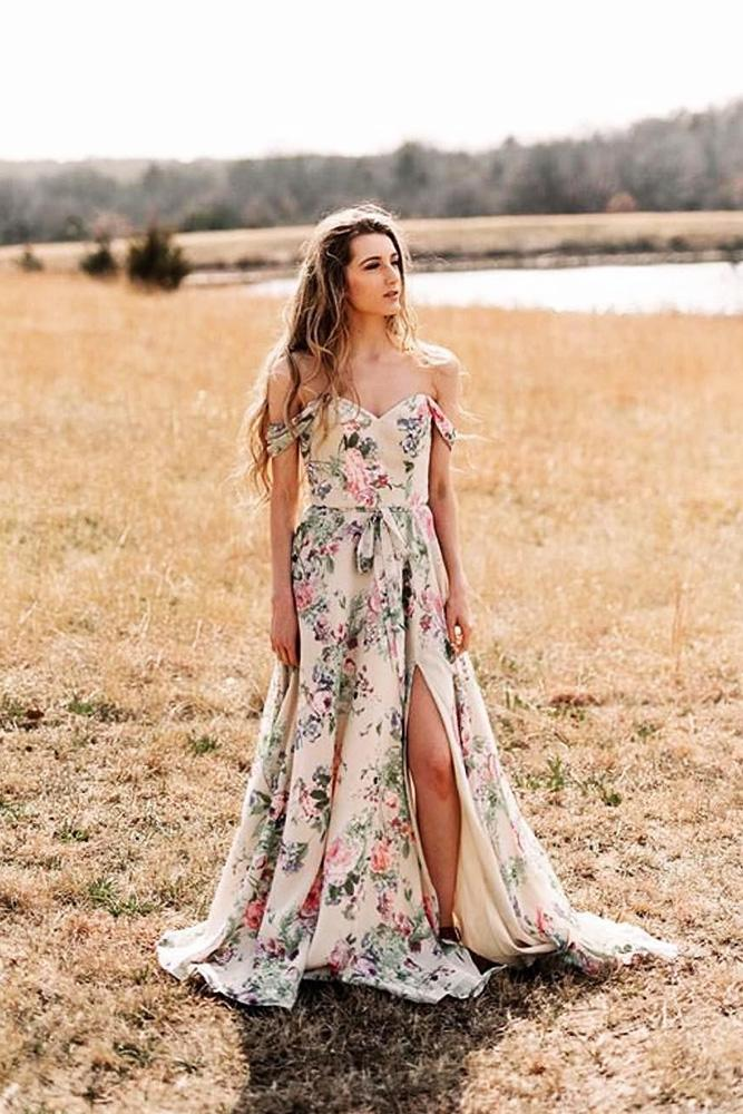 floral bridesmaid dresses long off the shoulder rustic pastel mori lee