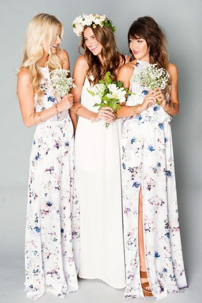 floral bridesmaid dresses long pastel print ryan hebert