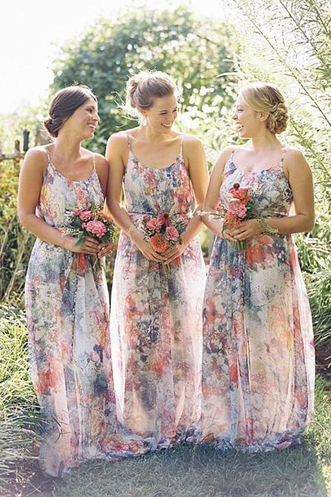 floral bridesmaid dresses sheath spaghetti straps watercolor charlie jade