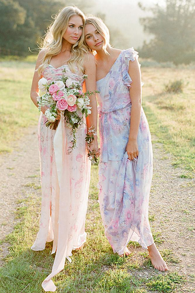floral bridesmaid dresses sheath sweetheart asymmetric pretty plum sugar