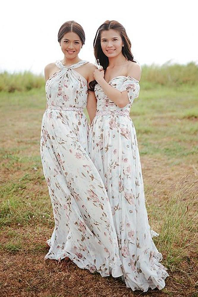 floral bridesmaid dresses sheath sweetheart off the shoulder sleveless watercolor patricia santos
