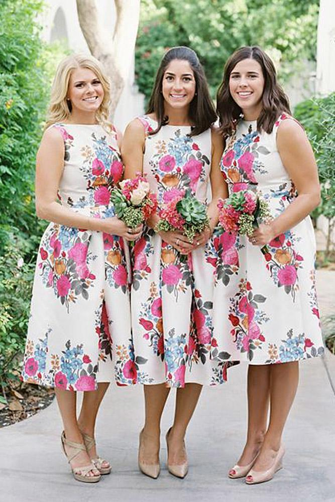 floral bridesmaid dresses short jewel neckline sleeveles christine donee