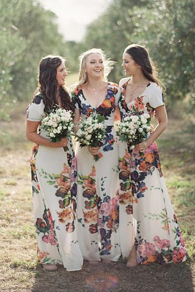 floral bridesmaid dresses with cap sleeves v neckline boho stewart leishman