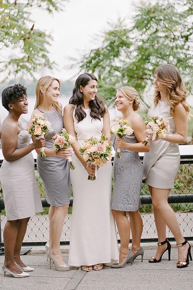 grey bridesmaids gowns jewel neck sweetheart short mismatched rebecca yale photography