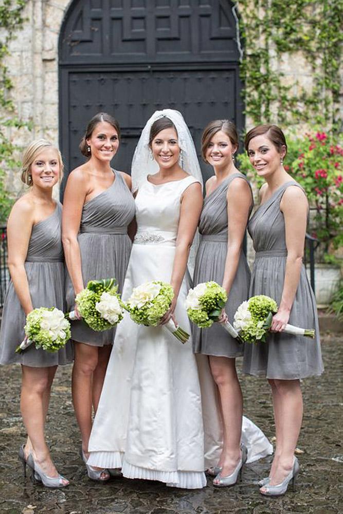 grey bridesmaid dresses one shoulder short sorella carly arnwine photography