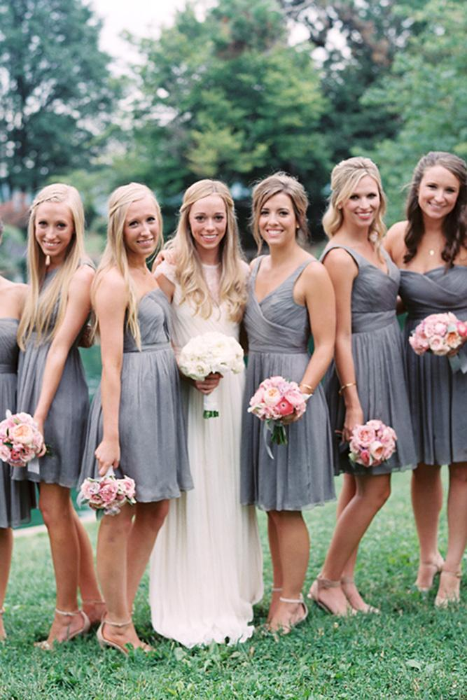 grey bridesmaid dresses sweetheart sleveless short clary pfeiffer