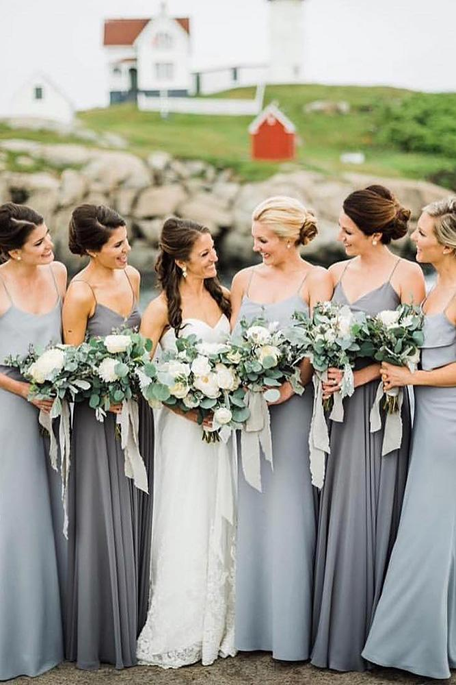 grey bridesmaids gowns sweetheart with spaghetti straps long mismatched jenny yoo