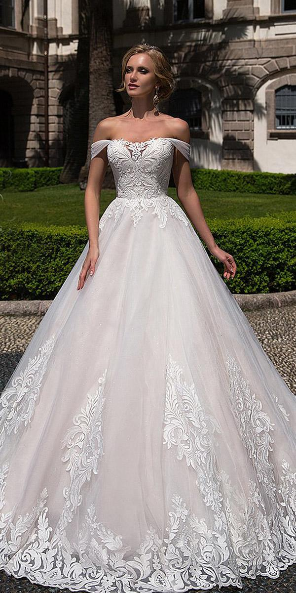 lace ball gown wedding dresses off the shoulder tulle skirt lussano bridal